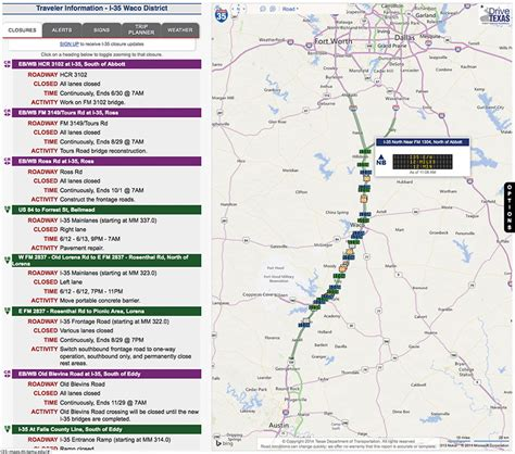 texas road closures map tti develops advanced traveler information map for i 35 expansion project texas a m