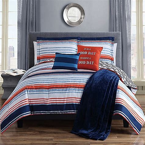 Orange And Navy Bedding by Roony Comforter Set In Navy White Orange Bed Bath Beyond