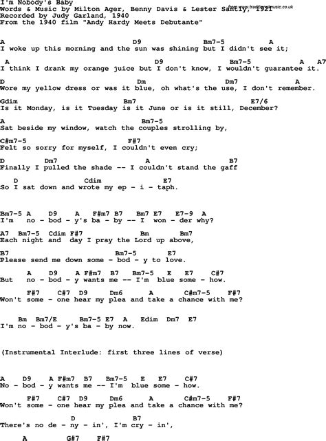 song lyrics with guitar chords for i m nobody s baby