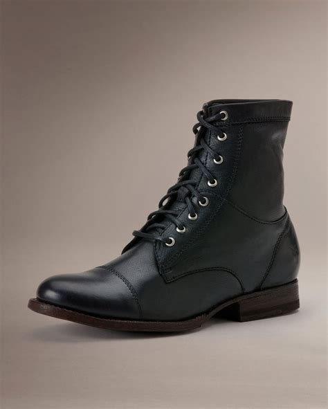 black work boots s frye boots erin cap toe laceup work boot black