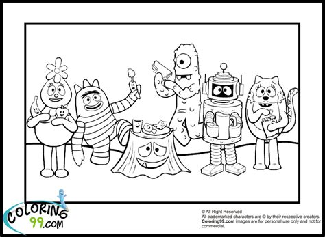 yo gabba gabba coloring pages team colors