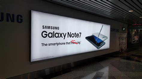 is samsung aware that note 7 is banned by the airlines advertisement at the kuala lumpur