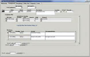 Access Maintenance Database Template by Equipment Preventive Maintenance Scheduling Software