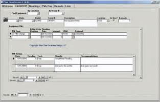 maintenance database access template equipment preventive maintenance scheduling software