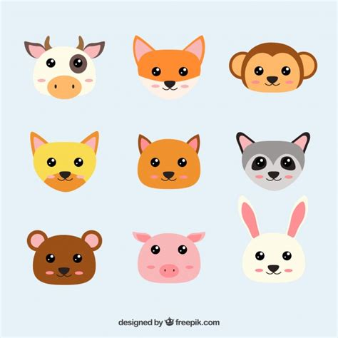 imagenes kawaiis de animales caras de animales kawaii descargar vectores gratis