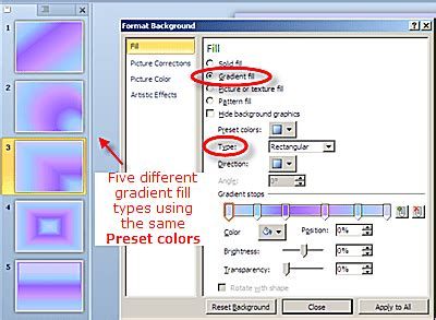 how to apply fill colors patterns and gradients to cells powerpoint 2010 background colors and graphics
