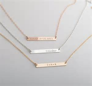 Nameplate Bar Necklace Name Bar Necklace Nameplate Necklace Personalize By Foressti