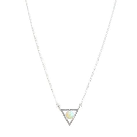 white opal necklace white opal earth triangle necklace sterling silver