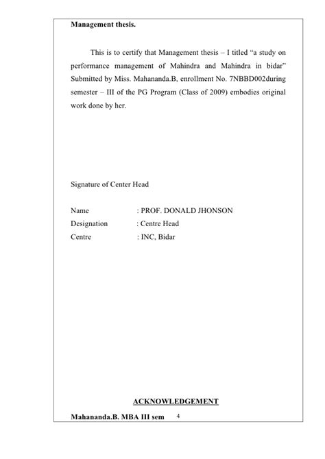 acknowledgement thesis for enrollment system a study on perfoemance management of mahindra and mahindra