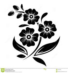 black silhouette of flowers vector illustration stock