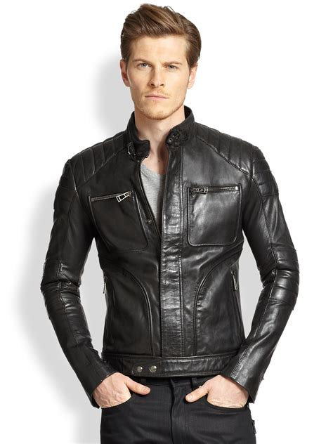 mens black leather motorcycle jacket lyst belstaff weybridge quilted leather moto jacket in