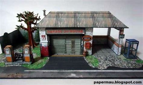 1 64 Scale Garage Diorama by The Generic Garage Paper Model In 1 64 Scale