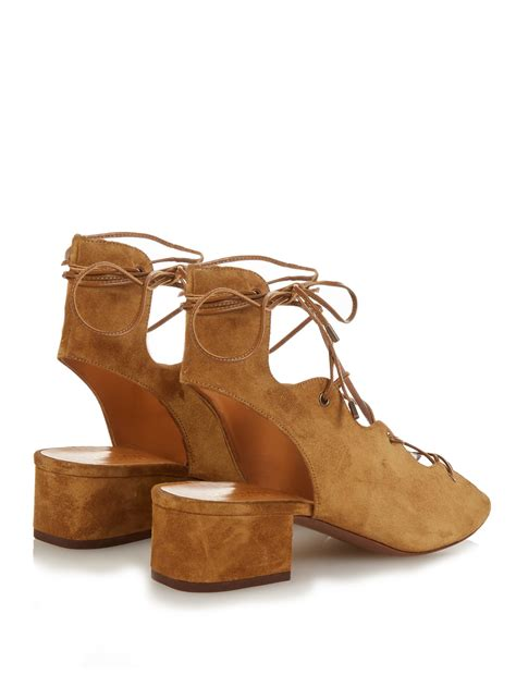 brown lace up sandals laurent lace up suede sandals in brown lyst