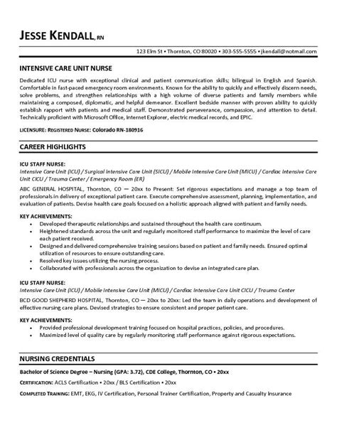Critical Care Resume Skills Exle Icu Intensive Care Unit Resume Free Sle