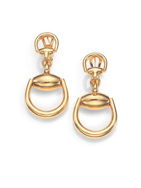 Gucci Horsebit 18k Yellow Gold Drop Earrings in Gold   Lyst