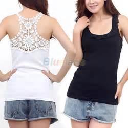 Fashion women s hollow back lace tank top ruffles sleeveless t shirt