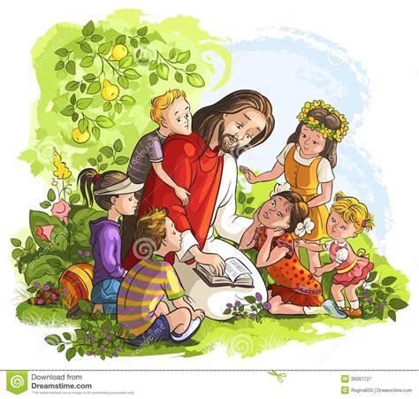 imagenes de jesus sin fondo jes 250 s que lee la biblia con los ni 241 os ilustraci 243 n del