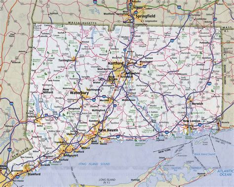 map of roads and highways large detailed roads and highways map of connecticut state