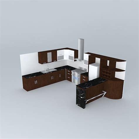 model kitchen kitchen design with equipment 3d model max obj 3ds fbx stl