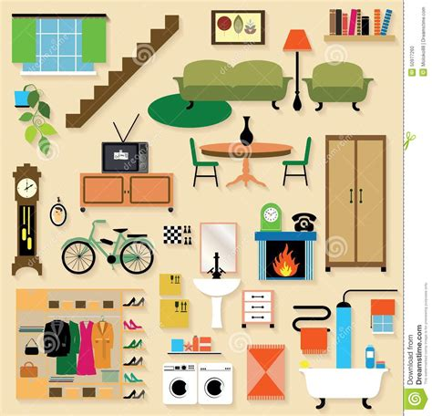 casa stanze mobilia messa per le stanze della casa illustrazione