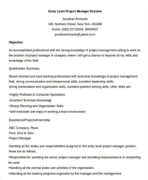 28 entry level project manager resume entry level