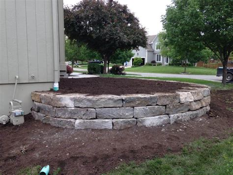 stone retaining wall flower bed overland park ks