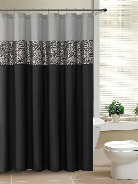 black fabric shower curtain classic design bathroom with black gray fabric shower
