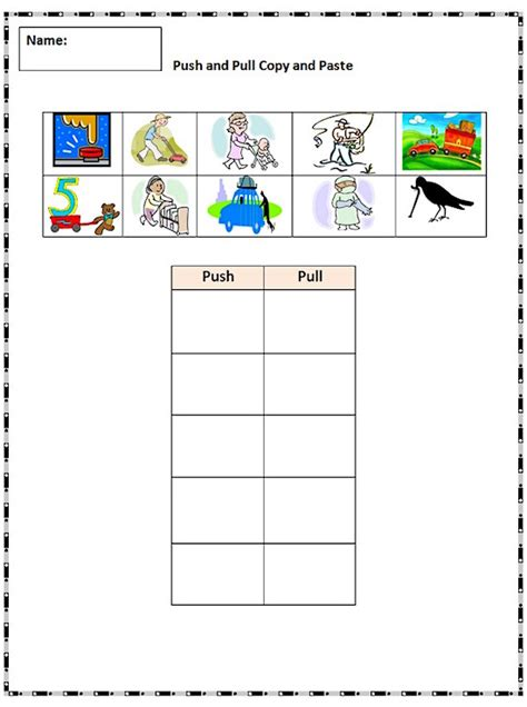 Push And Pull Worksheets For Kindergarten push and pull worksheets www imgkid the image kid