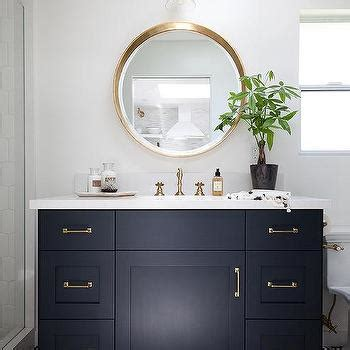 navy and white bathroom mosaic mirror design ideas