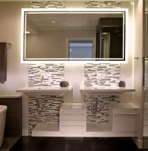 S 233 Ura Lighted Mirror Bolero Design Contemporary Bathroom Mirrors With Tv