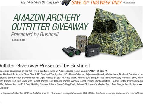 Archery Giveaway - the amazon bushnell archery outfitter giveaway