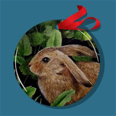 charming animal art christmas ornaments bunny rabbit