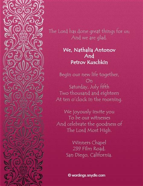 Wedding Card Invitation Christian by Best 25 Wedding Invitation Wording Sles Ideas Only On