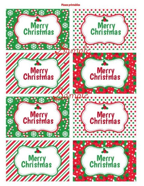 merry christmas red white green cute christmas gift tags etsy