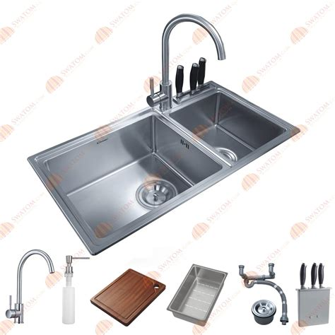 2 Sinks In Kitchen 32 1 2 Inch 12mm Thickness Stainless Steel Topmount Drop In Bowl Kitchen Sink Free