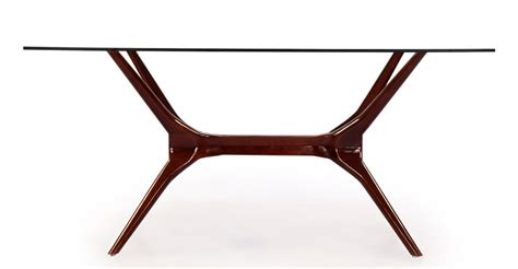 Mid Century Modern Glass Dining Table Sputnik Mid Century Modern Dining Table Walnut Legs Glass Top Ebay