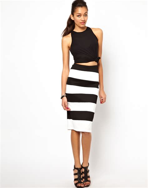 river island textured stripe pencil skirt in white lyst