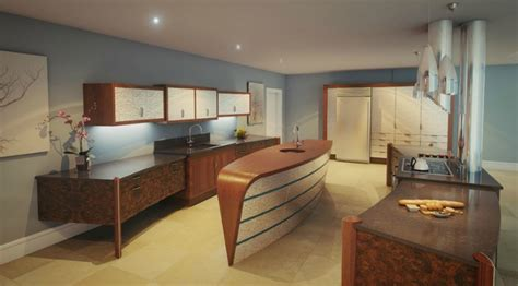 blue brown white kitchen interior design ideas
