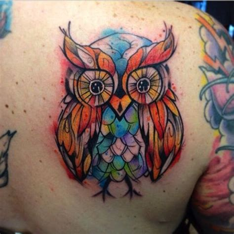 colorful owl tattoos 120 owl tattoos that will keep you awake