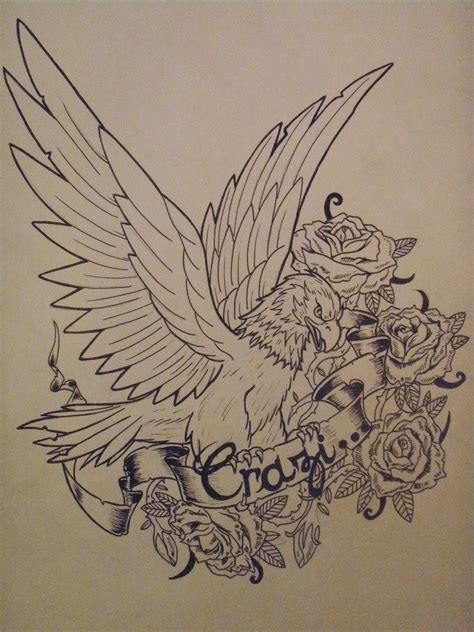 eagle and rose tattoo flower and eagle design