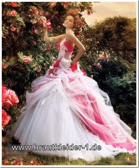 hochzeitskleid in rosa farbiges brautkleid in weiss rosa