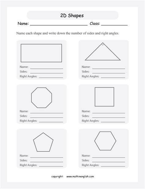 worksheets shapes grade 2 free coloring pages of with 2d shapes properties