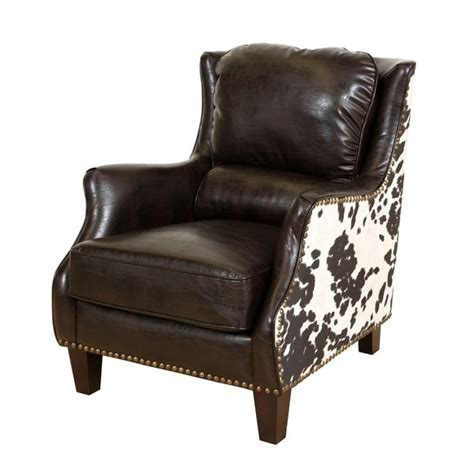 shop porter wrangler espresso   print bonded leather accent chair  shipping today