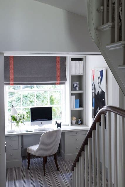 small office space with desk on stair landing small