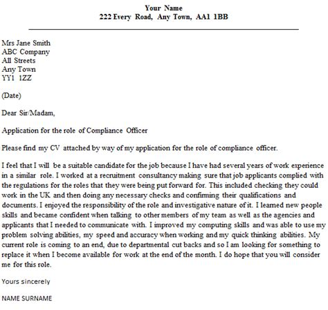 compliance officer cover letter sle lettercv