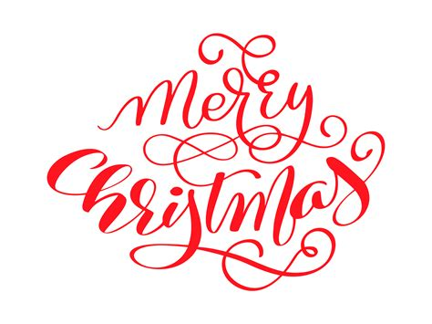 merry christmas red vector calligraphic lettering text  design greeting cards holiday