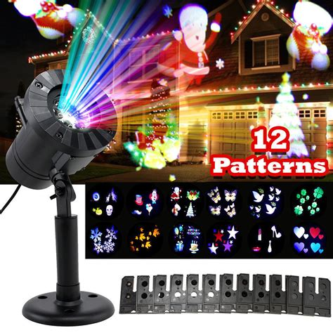 disco christmas lights 12 patterns mini lights outdoor projector laser garden light snowflake moving disco