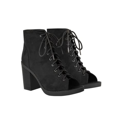 black suede lace up open toe block heel ankle boots pegasus