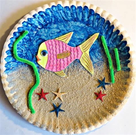How To Make Paper Plates At Home - a paper plate sea aquarium thriftyfun
