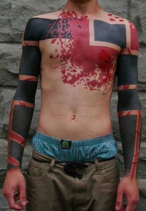 arm and chest blackwork tattoo best tattoo ideas gallery cool black red chest tattoo in blackwork style